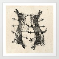 boxing Art Prints featuring Boxing Hares. by NVM Illustration