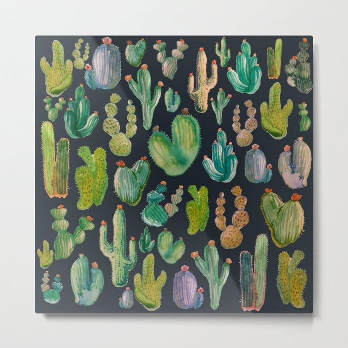 Cactus Watercolor at Night Metal Print