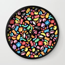 Rainbow Diet - a colorful assortment of hand-drawn candy on black Wall Clock