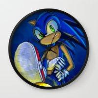 sonic Wall Clocks featuring Sonic by amanda.scopel