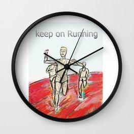 Keep on Running athletes motivational art Wall Clock