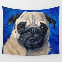 pugs Wall Tapestries featuring Pugs Rule (Pug) by Ashley Corbello