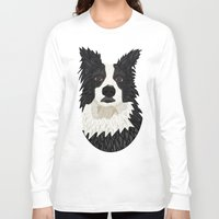 border collie Long Sleeve T-shirts featuring Beautiful Border Collie by ArtLovePassion