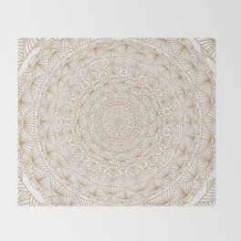 Brown Tan Intricate Detailed Hand Drawn Mandala Ethnic Pattern Design Throw Blanket