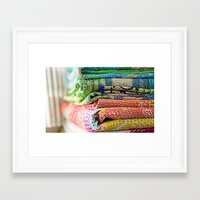blankets Framed Art Prints featuring Vintage Kantha Blankets by Nicole Jones