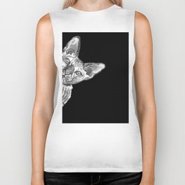 Sneaky Sphynx Cat Black and White Biker Tank