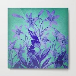 Indigo Lily Garden Metal Print