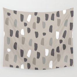 Rustic Woodland, Modern, Abstract, Pattern, Grey, Beige and Brown Decor Wall Tapestry