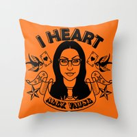 alex vause Throw Pillows featuring I heart Alex Vause Orange - OITNB inspired by Vague