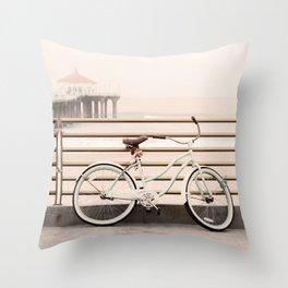Bicycle at Manhattan Beach Pier, Riding Bikes at the Beach, Beach Art Print, California Summer Throw Pillow