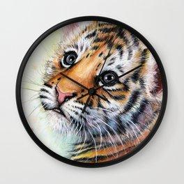 Nursery-Artwork-Tiger-Cub-Baby-Animal-Watercolor-Jungle-Safari-Animals Wall Clock