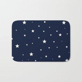 Scattered Stars White on Midnight Blue Bath Mat
