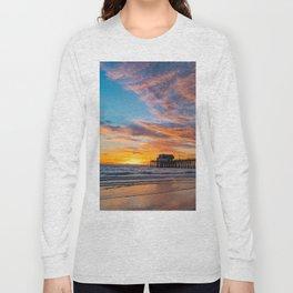 Painted Sky Over Newport Pier Long Sleeve T-shirt