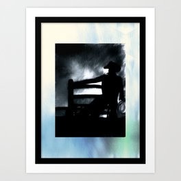 Cowboy In The Misty Night Art Print