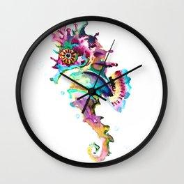 Seahorse , multi colored sea world animal art, design, cute animal art beach Wall Clock