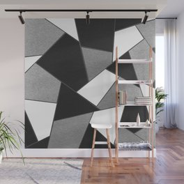 Silver Gray Black White Geometric Glam #1 #geo #decor #art #society6 Wall Mural