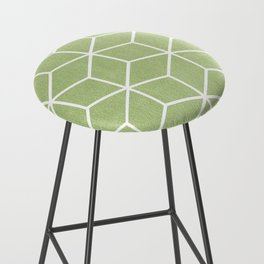Lime Green and White - Geometric Textured Cube Design Bar Stool