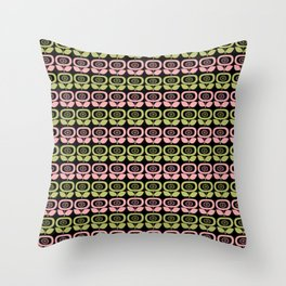 Mid Century Modern Retro Abstract Flowers Pink and Avocado Green on Black Throw Pillow