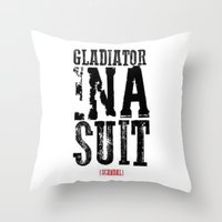 gladiator Throw Pillows featuring Gladiator in a suit  by Luxe Glam Decor