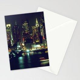 New York City Night Skyline Stationery Cards