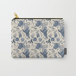 Blue Floral Pattern Carry-All Pouch