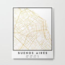 BUENOS AIRES ARGENTINA CITY STREET MAP ART Metal Print
