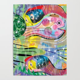 Hippy Fish in Rainbow Glow Poster