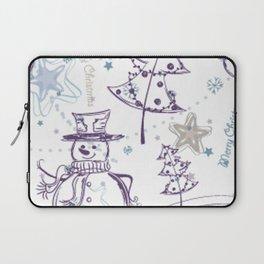Christmas Elements Winter Snowman Sketch Pattern Laptop Sleeve