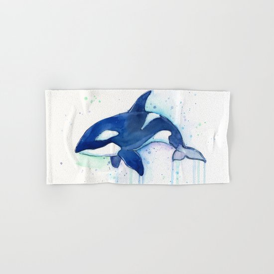 Killer Whale Orca Watercolor Painting Animal Art Hand & Bath Towel