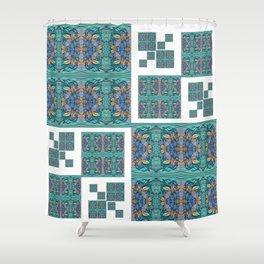 Optical Illusion Square Aqua Lavendar Mandala Quilt Design Shower Curtain