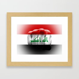 country flag of iraq fist power war aggression Framed Art Print