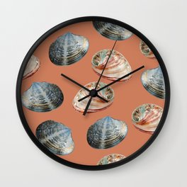 seashell clams Coral Background Wall Clock