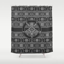 Satanic ugly sweater Shower Curtain