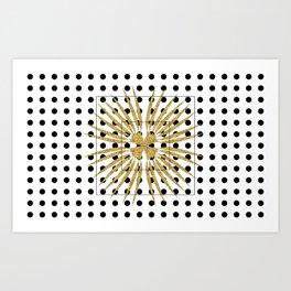 Golden Flower Ornaments Art Deco Dots Art Print