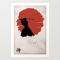 samurai Art Prints featuring Samurai by Purple Cactus