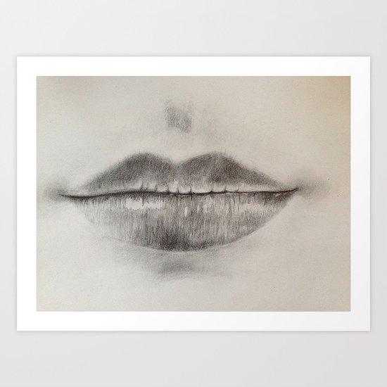 Lips Sketch Art Print
