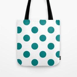 Large Polka Dots - Dark Cyan on White Tote Bag