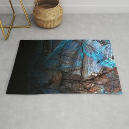 Deep Blue Marble - Ombre black Rug