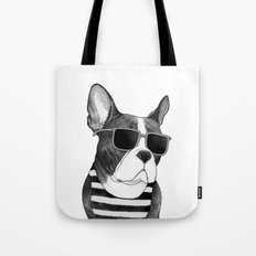 Frenchie Summer Style b&w Tote Bag