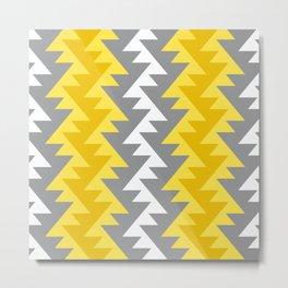 African zig-zag tribal motif pattern Yellow Gray Metal Print