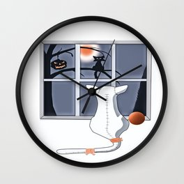 Watching on a Blue Night Wall Clock