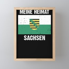 Saxony flag coat of arms flag logo gift Framed Mini Art Print