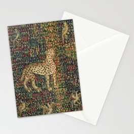 Vintage Floral with Cheetah and Birds 16th Century Tapestry Stationery Cards