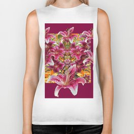 BURGUNDY STAR GAZER LILY FLOWER  ART Biker Tank