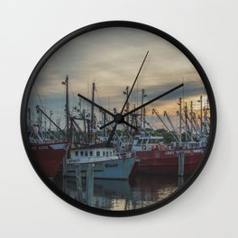 Ships at the Dock Wall Clock