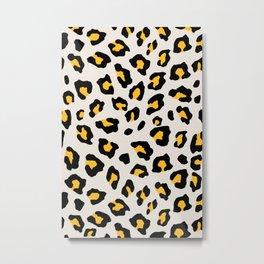 Leopard Print - Mustard Yellow Metal Print