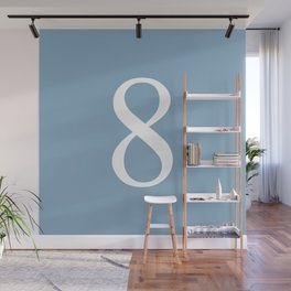 number eight sign on placid blue color background Wall Mural