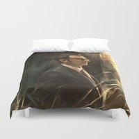 alicexz Duvet Covers featuring The Abyss Gazes Back by Alice X. Zhang