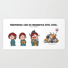 Happiness is cats Art Print