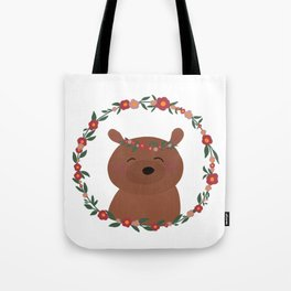 Cute Happy Bear with Flower Crow an Floral Wreath Tote Bag